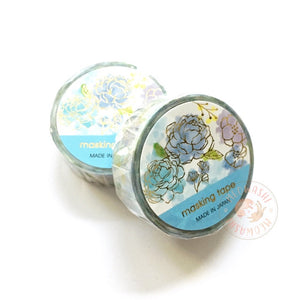 Mind Wave gold foil washi tape - Blue flower