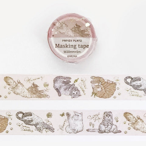 Papier Platz MILINA - Love cat gold foil washi tape 37-885