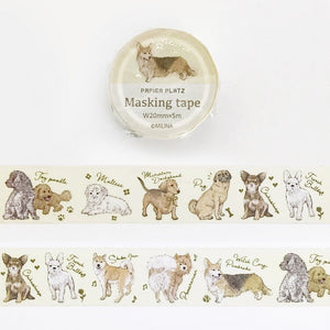 Papier Platz MILINA - Love dog gold foil washi tape 37-886