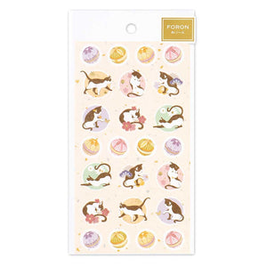 FORON gold foil sticker - Cat and temari 5074116