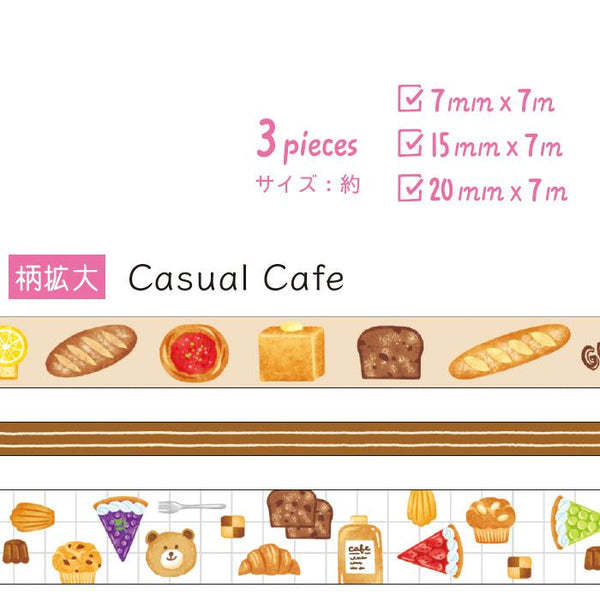 Mind Wave - Casual cafe washi tape 3 rolls set 94663