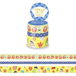 Mind Wave - Japanese lucky charms washi tape 3 rolls set 94870