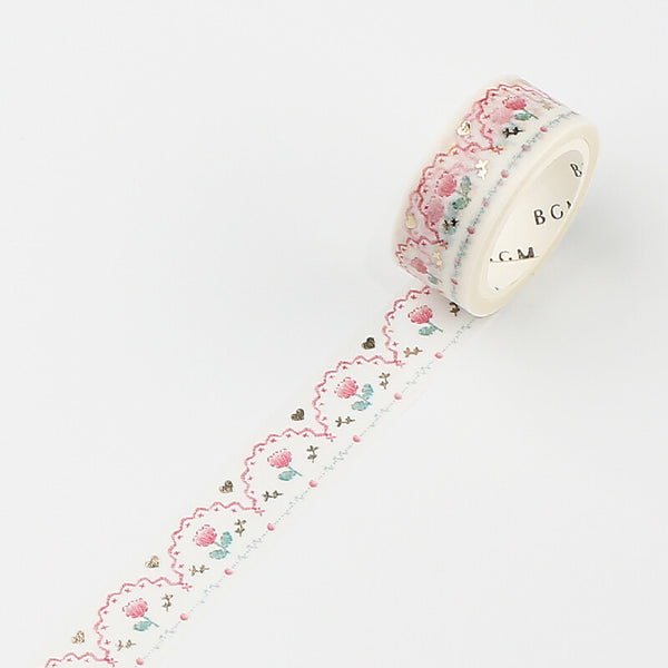 BGM embroidery gold foil washi tape - Pink BM-LGCA035