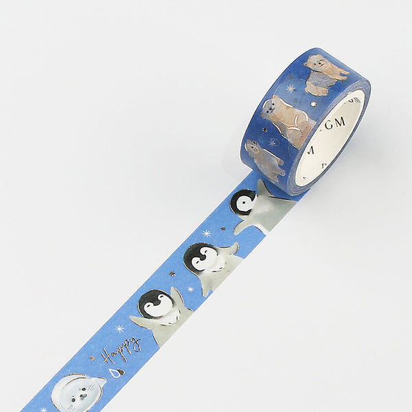 BGM gold foil washi tape - Polar animals BM-LGCA038