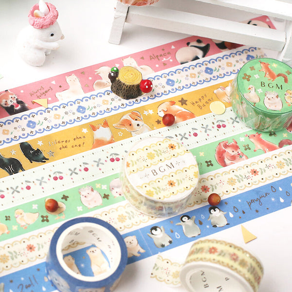BGM gold foil washi tape - Polar animals