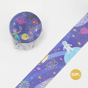 BGM gold foil washi tape - Space travel BM-LGCB010