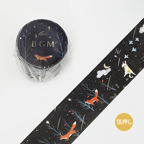 BGM gold foil washi tape - Night forest BM-LGCB011
