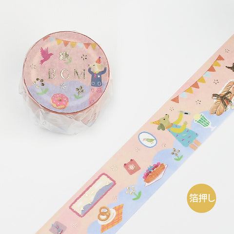 BGM gold foil washi tape - Tea time BM-LGCB012