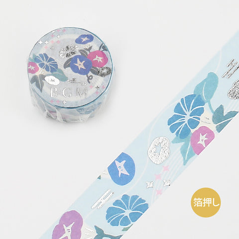 BGM wagara silver foil washi tape - Morning glory BM-LGCD007