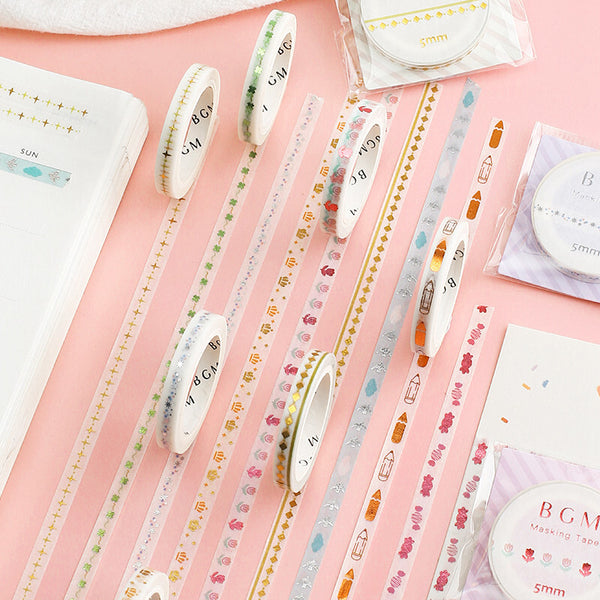 BGM skinny foil washi tape - Pencil