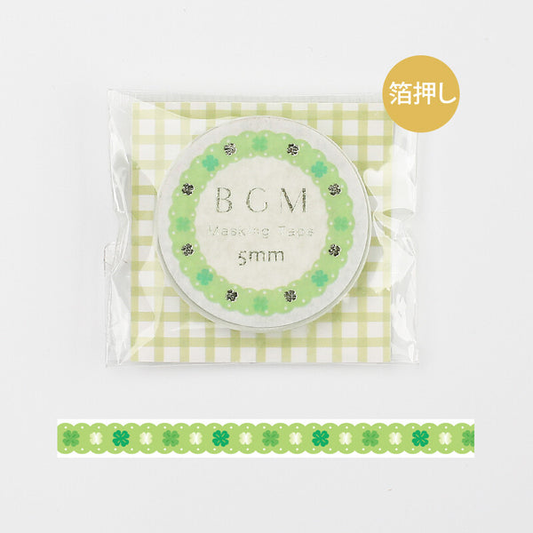 BGM skinny foil washi tape - Green lace BM-LSG060