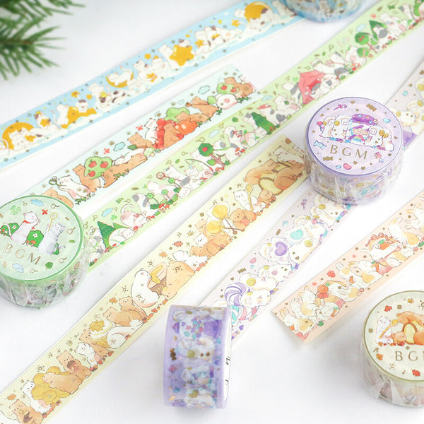 BGM animal party gold foil washi tape - Cat and star