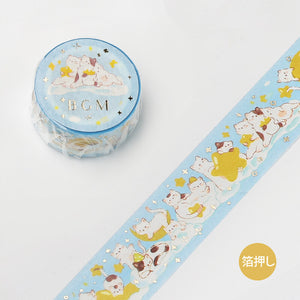 BGM animal party gold foil washi tape - Cat and star BM-SPDP004