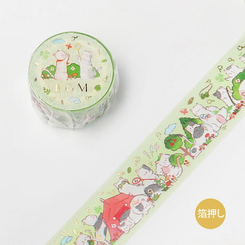BGM animal party gold foil washi tape - Camping cat BM-SPDP005