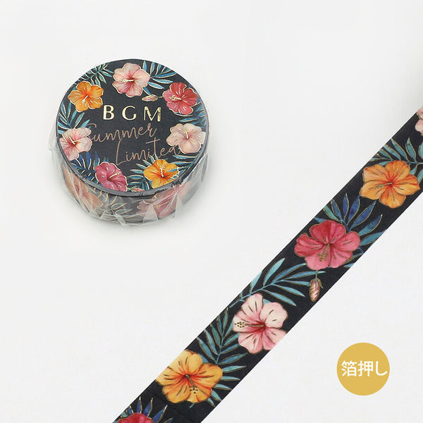 BGM Summer limited edition gold foil washi tape - Hibiscus BM-SPGLN008