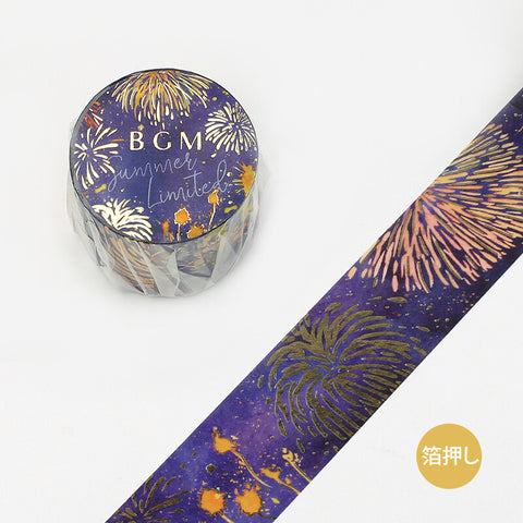 BGM Summer limited edition gold foil washi tape - Fireworks BM-SPGLN011