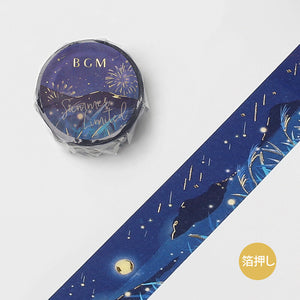 BGM Summer limited edition gold foil washi tape - Summer night BM-SPGLN019