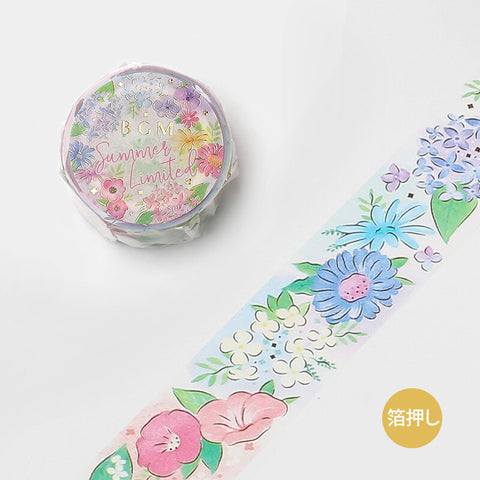 BGM Summer limited edition gold foil washi tape - Flowers BM-SPGLN020