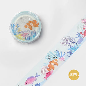 BGM Summer limited edition silver foil washi tape - Sea BM-SPGLN021
