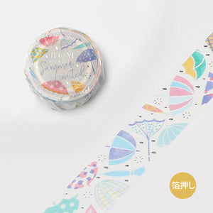 BGM Summer limited edition silver foil washi tape - Umbrella BM-SPGLN022