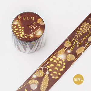 BGM Christmas gold foil washi tape - Acorn and pine cone BM-SPLM006