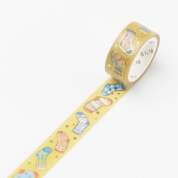 BGM Winter limited edition gold foil washi tape - Socks BM-SPLW009