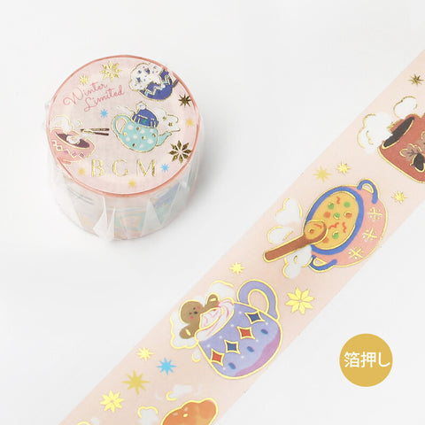 BGM Winter limited edition gold foil washi tape - Cozy BM-SPLW013