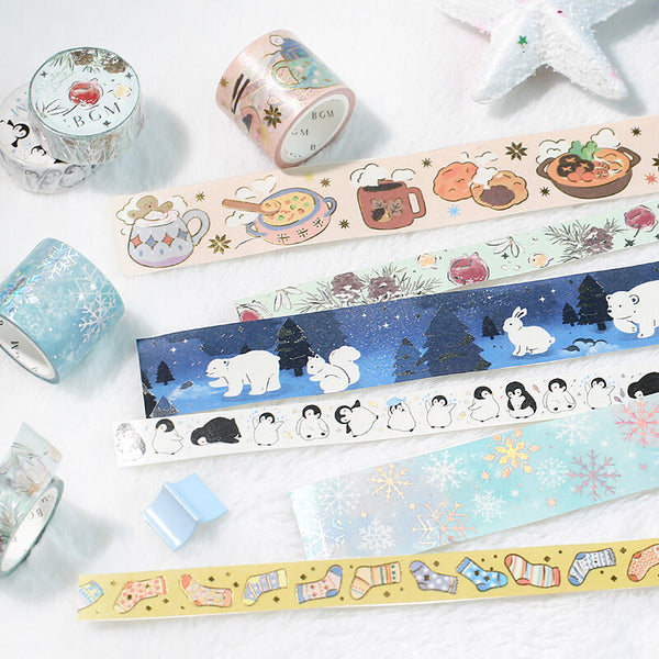 BGM Winter limited edition silver foil washi tape - Snowy forest