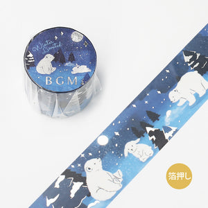 BGM Winter limited edition silver foil washi tape - Snowy forest BM-SPLW014