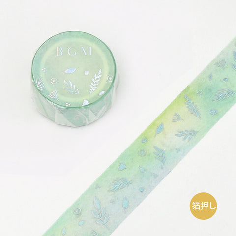 BGM macaron color foil washi tape - Green leaf BM-SPMG003