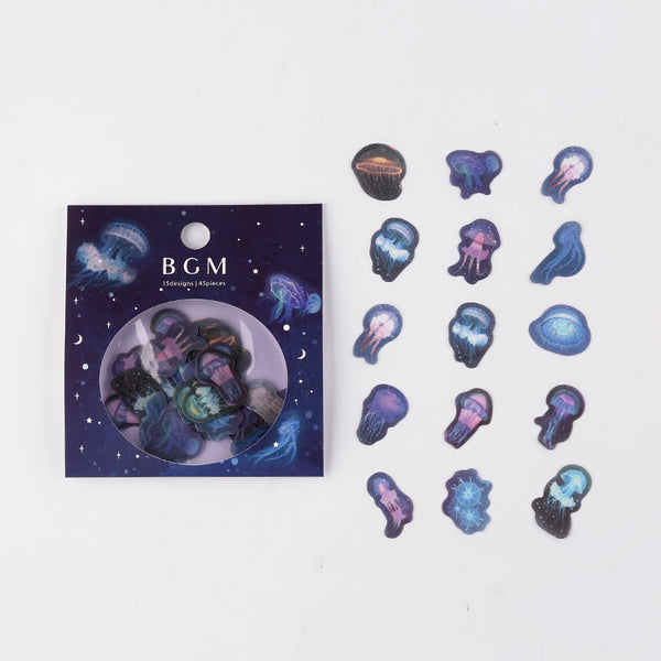 BGM washi sticker flakes - Jellyfish BS-FF017