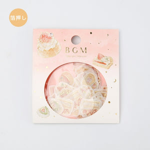 BGM gold foil washi sticker flakes - Strawberry dessert BS-FG041