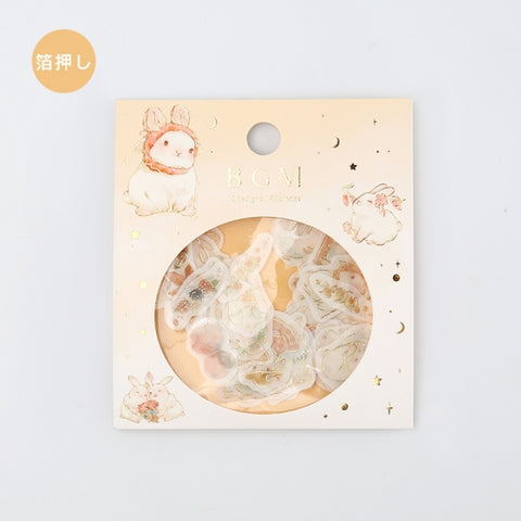 BGM gold foil washi sticker flakes - Bunny BS-FG043