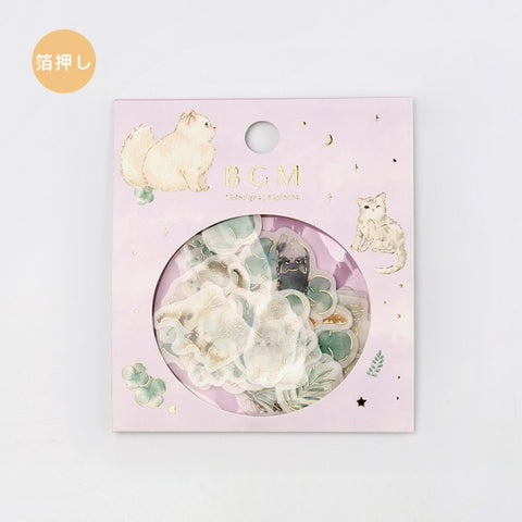 BGM gold foil washi sticker flakes - Cats and leaves BS-FG044