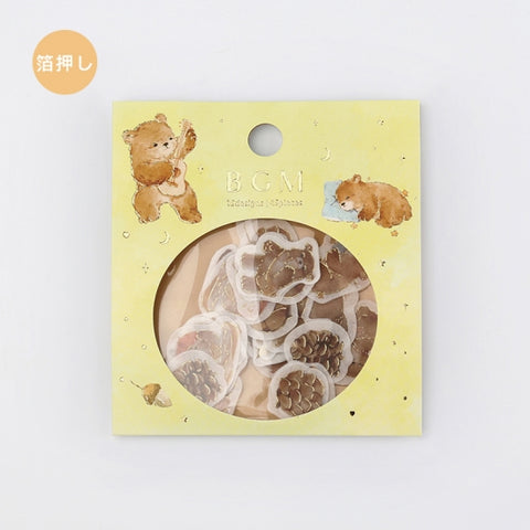 BGM gold foil washi sticker flakes - Bear BS-FG046