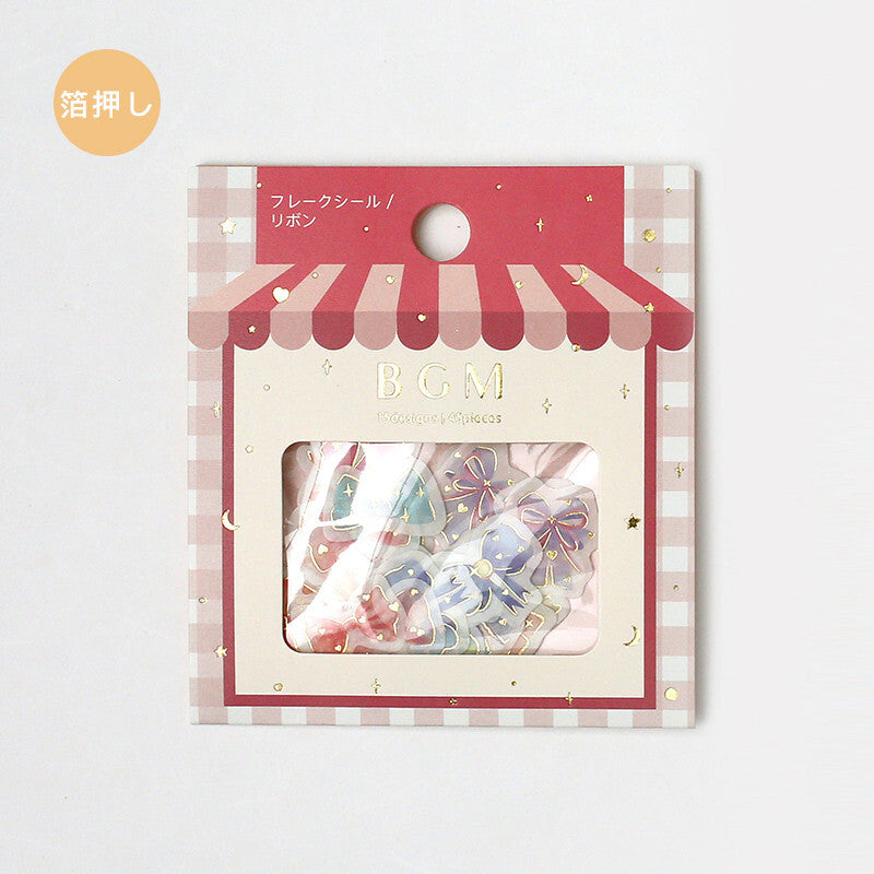 BGM gold foil washi sticker flakes - Ribbons BS-FG051