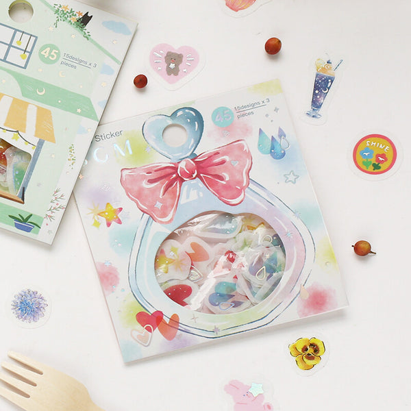 BGM silver foil washi sticker flakes - Star, heart and raindrop
