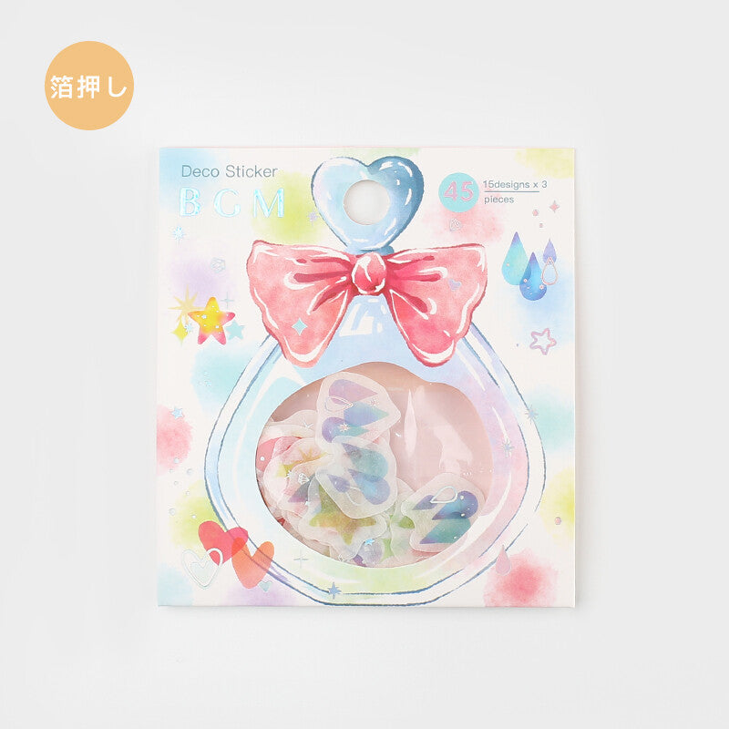 BGM silver foil washi sticker flakes - Star, heart and raindrop BS-FG088