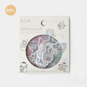 BGM silver foil washi sticker flakes - Winter animals BS-FGLW002