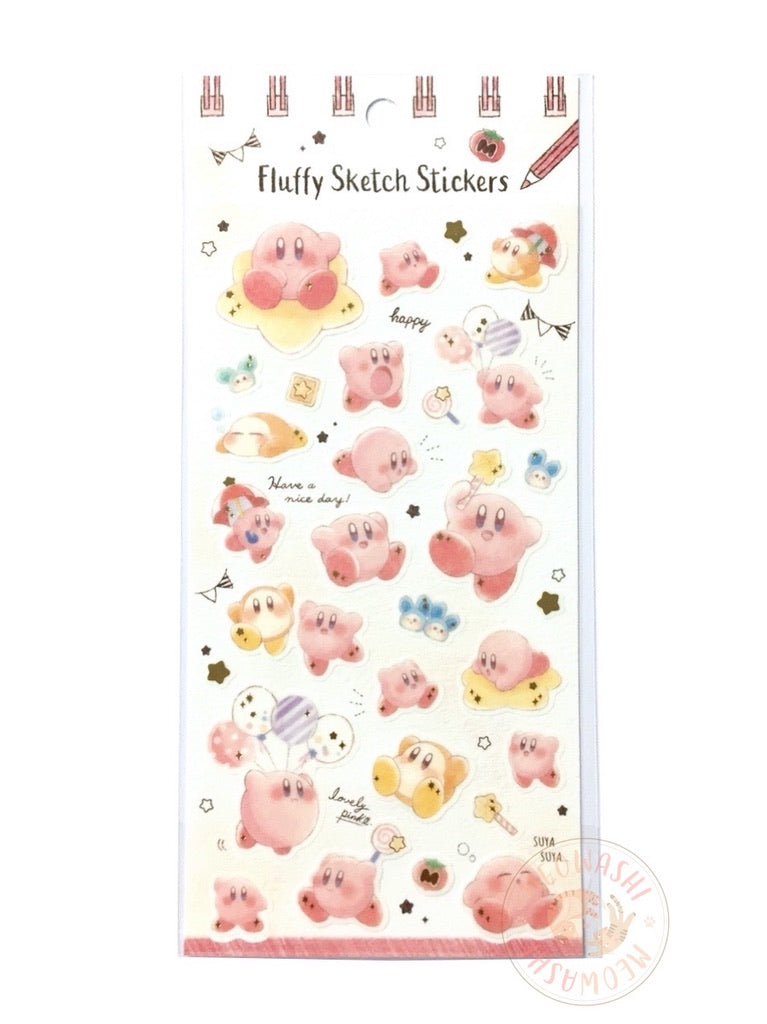 Kamio gold foil fluffy sketch stickers - Kirby 28933
