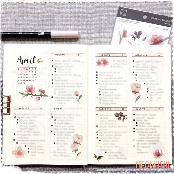 Bullet journal weekly spread decorated with MU print on sticker BPOP-001075