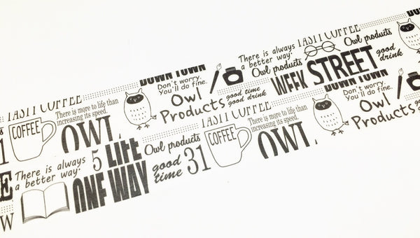 Green Flash Owl Products - White typography washi tape OW-054