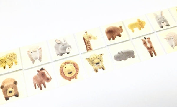 Round Top Little Animal - Yellow background animal washi tape
