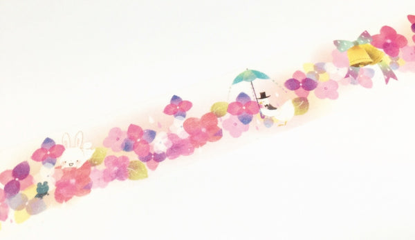 Hoshizora illustration - bunny in pink floral blossom washi tape