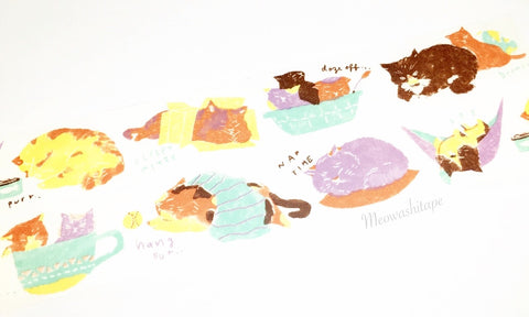 Aimez le style middle - Cat nap washi tape E05533