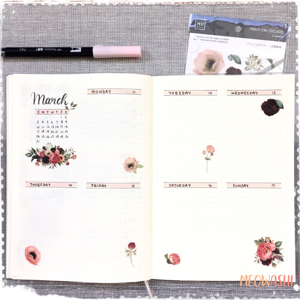 Bullet journal weekly spread decorated with MU print-on sticker BPOP-001054
