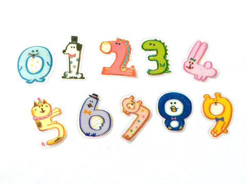 Animal numbers sticker flakes