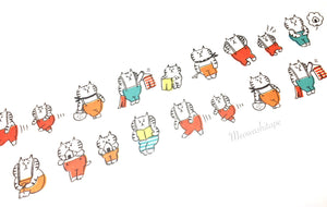Mind Wave Gorogoro Nyansuke - Cats in overalls die cut washi tape
