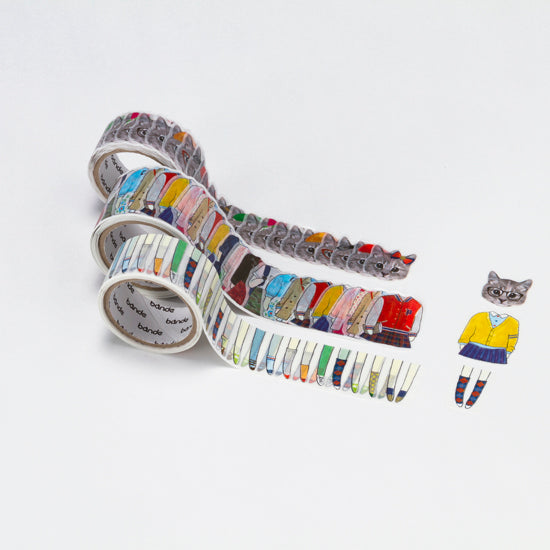 Bande - Grey cats washi stickers roll
