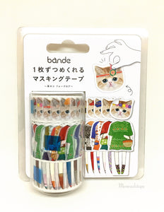 Bande - Beige cats washi stickers roll BDA212